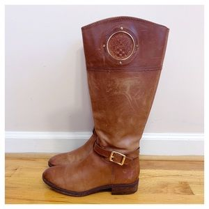 Vince Camuto Tan Leather Wide Calf Riding Boots